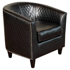 Alford Bonded Leather Quilted Barrel Chair