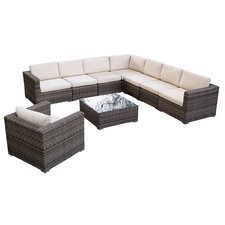 Moroni 9 Piece Deep Seating Group with Beige Cushions