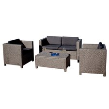 Tauton 4 Piece Deep Seating Group in Green with Black Cushions