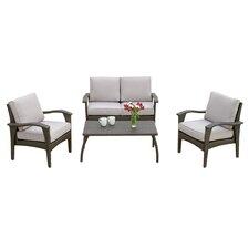 Bideford 4 Piece Deep Seating Group with Grey Cushions