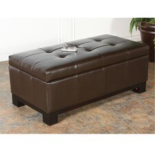 Juliet Bonded Leather Storage Ottoman with Tufted Top