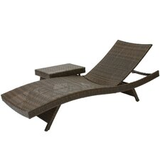 Outdoor Adjustable Lounge and Wicker Table Set