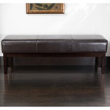 Melrose Bonded Leather Ottoman Bench in Brown