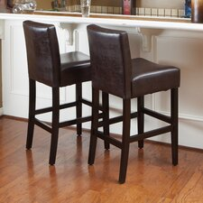 "<strong>Home Loft Concept</strong> Bonded Lopez 26"" Bar Stool with Cushion (Set of 2)"