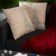 "Parisian 18"" Embroidered Eiffel Tower Pillows (Set of 2) (Set of 2)"