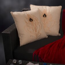 Embroidered Peacock Tail Pillow (Set of 2)