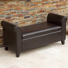 Dreesen Bonded Leather Armed Storage Ottoman