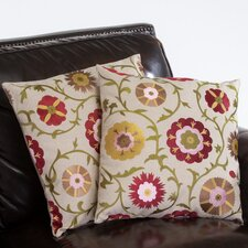 "Fields 18"" Linen Flowers Pillows (Set of 2) (Set of 2)"