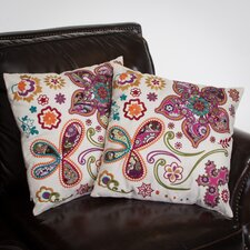 "Heather 18"" Paisley Floral Pillows (Set of 2) (Set of 2)"