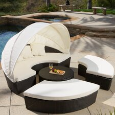 Goleta Canopy 4 Piece Sectional Daybed Seating Group with Cushions