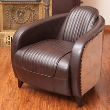 Manado Channeled Leather and Metal Club Chair