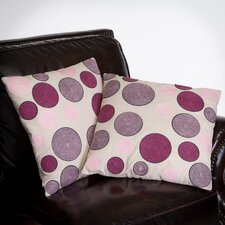 "Madrid 18"" Linen Circles Pillows (Set of 2) (Set of 2)"