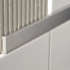 "Decoline 96"" x 1"" Bullnose Tile Trim in Aluminum Satin Silver Anodized"