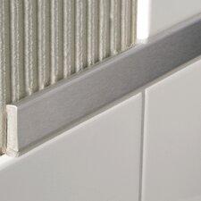 "Decoline 96"" x 1"" Bullnose Tile Trim in Aluminum Shiny Silver Anodized"