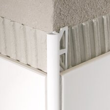 "96"" x 1"" Corner Piece Tile Trim in PVC Aluminum"