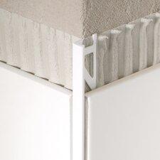 "96"" x 1"" Corner Piece Tile Trim in Aluminum Satin Silver Anodized"