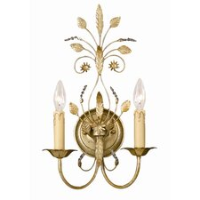 Primrose 2 Light Crystal Candle Wall Sconce
