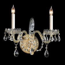 Traditional Crystal 2 Light Candle Wall Sconce