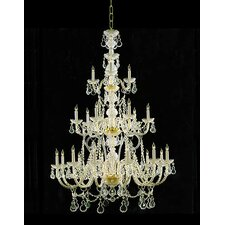 Traditional Crystal 12 Light Chandelier in Polished Brass