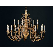 Williamsburg Eighteen Light Large Chandelier in Polished Brass