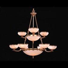 European Classic Fourteen Light Chandelier in Olde Brass