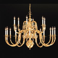 "Williamsburg 60"" Eighteen Light Chandelier in Polished Brass"