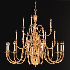 "Williamsburg 60"" 21 Light Chandelier in Polished Brass"