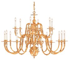 "Williamsburg 72"" Eighteen Light Chandelier in Polished Brass"