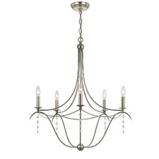 <strong>Crystorama</strong> Metro Five Light Chandelier in Antique Silver
