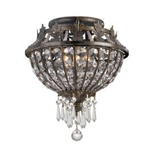 Traditional Classic Crystal 3 Light Semi Flush Mount