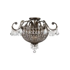Traditional Classic Crystal 6 Light Semi Flush Mou