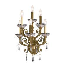 Traditional Classic 6 Light Crystal Candle Wall Sconce