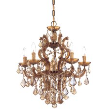 Maria Theresa Six Light Swarovski Elements Chandelier in Antique Brass