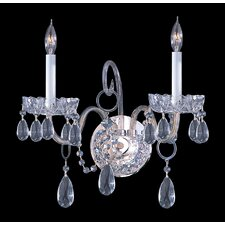 <strong>Crystorama</strong> Bohemian Crystal 2 Light Candle Wall Sconce with Clear Crystal