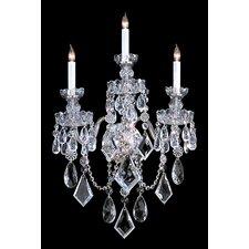 Bohemian Crystal 3 Light Candle Wall Sconce in Majestic Wood Polished Crystal