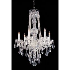 Traditional Crystal 6 Light Glass Chandelier