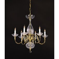 <strong>Crystorama</strong> Historical Brass  Candle Chandelier in Polished Brass