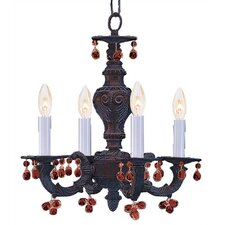 Sutton 4 Light Crystal Candle Chandelier