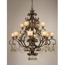 Norwalk 12 Light Golden Teak Crystal Chandelier
