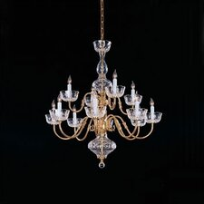 Colonial 12 Light Chandelier in Polished Brass