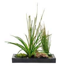 Faux Grass in Retangular Metal Planter