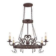 <strong>Jeremiah</strong> Brookshire Manor Pot Rack with 4 Light Pendant