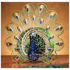 Peacock Figurine Table Top Fan