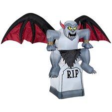 Animated Gargoyle on a Tombstone Halloween Decoration