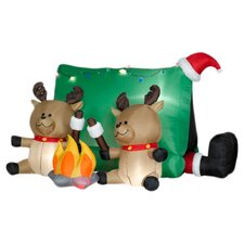 Airblown Santa with Reindeers Camping Scene Christmas Decoration