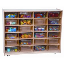 <strong>Wood Designs</strong> Twenty Four Large Tray Storage Unit with Clear Trays