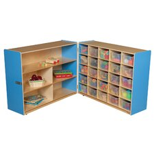 <strong>Wood Designs</strong> Tray and Shelf Fold Storage Unit with 25 Clear Trays