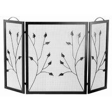 Flat Top Leaf Design 3 Panel Fireplace Screen