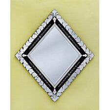 <strong>Venetian Gems</strong> Diamond Large Wall Mirror in Black