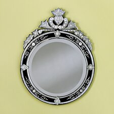 Round Venetian Wall Mirror in Black